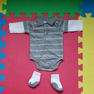 Garanimals Matching Sets - Boy long sleeve onesie with baby socks